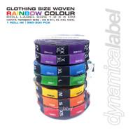 Label Size Ukuran Baju - Woven Rainbow Colour - XS - XXXL