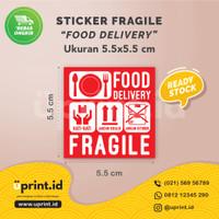 Stiker Fragile Food Delivery | 5.5 x 5.5 cm | Bahan Chromo