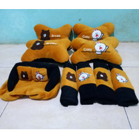 Bantal Mobil BROWN&CONY Coklat Isi 4 Headrest Brown&cony Chocholate