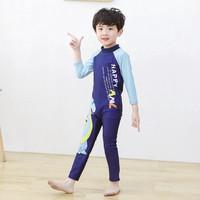 Baju Renang Anak Laki laki Panjang Swimsuit Print Motif Blue Dinosaur