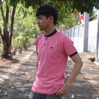 Polo Shirt / Kaos Kerah Sanghai Pria Warna Pink Lis Hitam