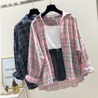 Kemeja Kotak Pastel / Atasan Hem Style Korea Terbaru Baju Luaran Impor