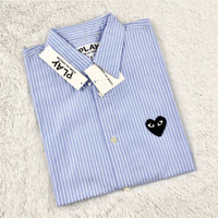 CDG Play Shirt Sleeved Shirt With Heart Patch Men Blue