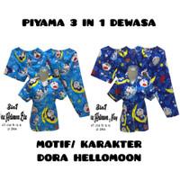 PIYAMA 3 IN 1 DEWASA MOTIF DORAEMON HELLOMOON/ Allsize fit to XL/ Baru