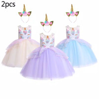 dress pesta unicorn bunga set bando unicorn anak baju ulang tahun anak