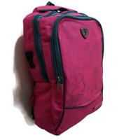 Tas Ransel Sekolah Anak Perempuan Murah F - Three Beauty Stripe - Merah Muda