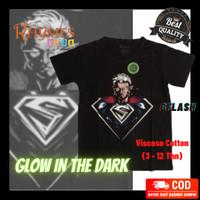 Kaos Anak Laki-Laki Superman New Glow In The Dark Rhymes Import Baju