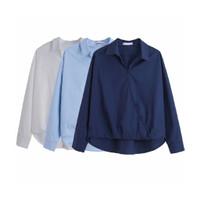 Atasan Wanita Blouse Casual Polos Biru Tua / Biru Muda / Putih