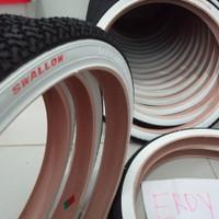 BAN LUAR SEPEDA 20 X 1.75 SWALLOW DELI TIRE - LIST PUTIH