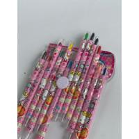 Pensil Warna crayon putar isi 12pcs - Merah Muda