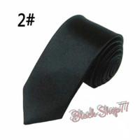Dasi Pria Dasi Panjang Dasi Satin Polos Slim Hitam 5 cm