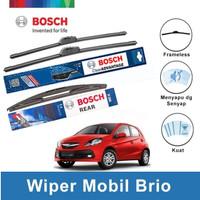 """Bosch Wiper Depan & Belakang Honda Brio Frameless 22"""" & 14"""" + H306"""