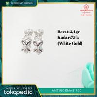 Anting Emas Jepit Bunga 750 White Gold #483C
