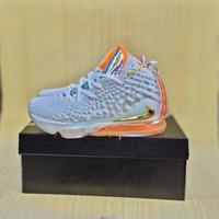 Sepatu Basket Nike Lebron 17 Grey Orange