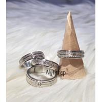 Cincin Titanium Silver Mata Satu 5 MM Pria/Wanita [ Real Pic ]