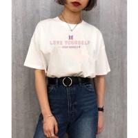 Baju Kaos Atasan Tshirt Katun BTS Love Yourself Wanita Perempuan Cewek