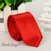 Dasi Pria Dasi Panjang Dasi Satin Polos Merah Terang 3 Inchi
