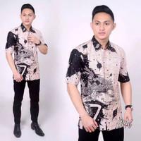 Kemeja Baju Murah Hem Batik Motif Wayang - White Putih