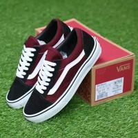 Sepatu VANS Oldskool Red Black White - Merah, 38