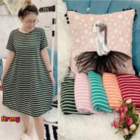 Striped Dress Santai Baju Terusan Wanita Daster Kaos Motif Salur Garis