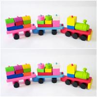 Mainan Balok Kayu Kereta Api Wooden Stacking Train