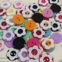 kancing baju diameter 15 mm - kancing bunga sakura isi 50 pcs