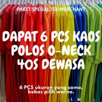 [Dapat 6 Pcs] Kaos Polos Cotton Combed 40S Dewasa Paket Bundling