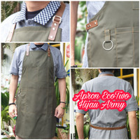 Apron EcoTwo Army Barista Barberman Chef Bahan Drill Synthetic Leather