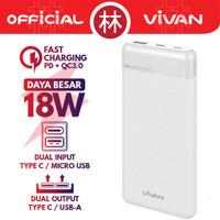 Vivan VPB-M10 10000mAh Dual Output & Input 18W Two Way QC3.0 Powerbank - Putih