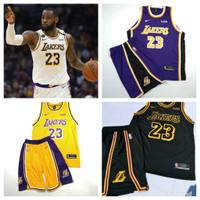 JERSEY BASKET NBA STELAN LOS ANGELES LAKERS HITAM BISA CUSTOM NAME - Kuning JAMES, S