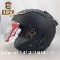 Helm Half Face Kyt Galaxy Slide Solid Black Matte Dof Hitam Polos Doff