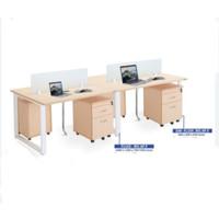 Meja Kantor meja kerja partisi kaca 4 orang indachi inco fluix