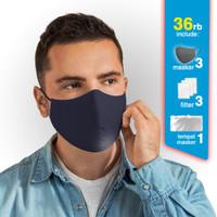 Masker Kain Scuba 2 Lapis - bisa sisipkan FILTER - jual per 3 pcs