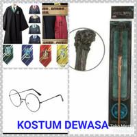 Paket Kostum Harry Potter DEWASA: Jubah+Dasi+Tongkat+Kacamata
