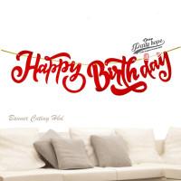banner happy birthday latin merah / bunting flag hbd latin cutting 2