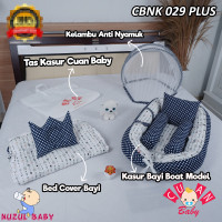 Kasur Bayi Kelambu Plus Bed Cover Bayi Motif Polka Navy And Archerry