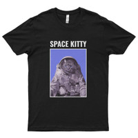Kaos Distro Premium Lengan Pendek Kucing Luar Angkasa T-Shirt - Hitam, L