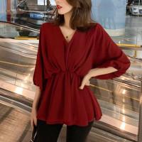 Blus Merah Atasan Slim Wanita Model Kalong Oversized xl