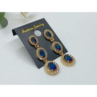 Anting Stud Xuping Model Jurai Batu Permata Biru/ Perhiasan Wanita
