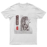 Kaos Distro Premium Lengan Pendek Lukisan Harimau T-Shirt - Putih, S
