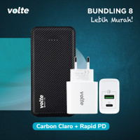 BUNDLING VOLTE CARBON CLARO 10.000 mAh Fast Charge Support QC 3.0 + PD