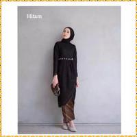 atasan tunik muslim kebaya wanita brukat blouse zerin midi maxi hitam