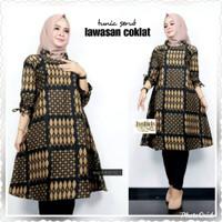Baju blouse tunik atasan wanita jumbo batik katun prima halus ld 120