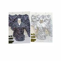 Piyama Baju Tidur 3 in 1 Kimono Tulisan Graffity Hitam Putih Kajep Fi