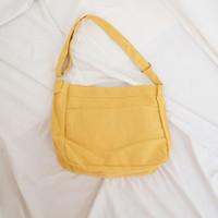 Tas Selempang Kuning Kanvas Unisex Polos Canvas Slingbag Import