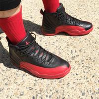 Sepatu Nike Air Jordan 12 Flu Game Bred Black Red