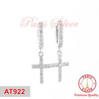 Anting jepit salib permata perak silver 925 lapis emas putih cross