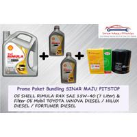 Paket Oli Mobil Diesel SHELL RIMULA R4X + Filter Oli TOYOTA FORTUNER