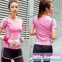 Kaos Olah Raga Sport Atasan Wanita Baju Gym Fitness Running Senam Wear