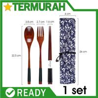 BENANG Sendok garpu sumpit kayu sujeo set alat makan korea jepang